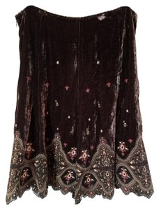 Elie Tahari Velvet Embroidered Skirt Brown