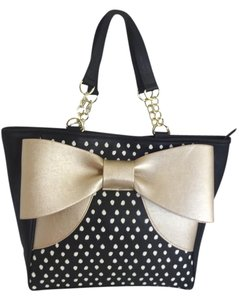 Betsey Johnson Gold Tote in black spotted /gold bow