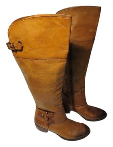 Vince Camuto Equestrian Leather Tall Knee High #uniqueharnessstrap Brown Boots