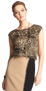 Ann Taylor Animalprint Leopard Feathered Jacquard Top