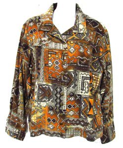 Chico's Tribal Pattern Denim Orange Womens Jean Jacket