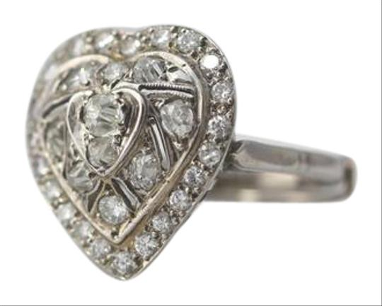 Other Vintage 14k White Gold Diamond Heart Ring Image 0