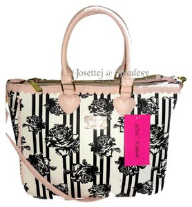 Betsey Johnson Quilted Swag Triple Entry Satchel in BONE/BLACK ROSE PRINT