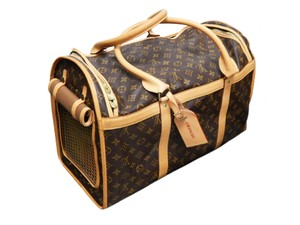 Louis Vuitton Monogram Sacchien Dog Pet Carrier Brown Leather Travel Bag