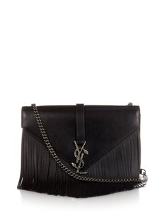 Saint Laurent Ysl Monogram Fringe Shoulder Bag