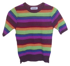 a pasteque Rainbow Striped Short Sleeve A Top purple, red, orange, green blue