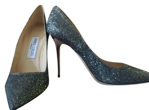 Jimmy Choo Glitter Classic Comfortable Pointed Toe Dark Gray Pumps