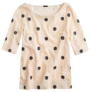 J.Crew Sequins Polka Dot Glam Top Cream