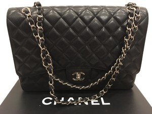 Chanel Chain Silver Leather Classic Front Flap Cross Body Bag