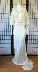 Ivory Silk Charmeuse 1930s Gown with Lace Bolero Jacket Deco Vintage Wedding Dress Size 6 (S)