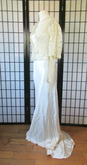 Ivory Silk Charmeuse 1930s Gown with Lace Bolero Jacket Deco Vintage Wedding Dress Size 6 (S) Image 2