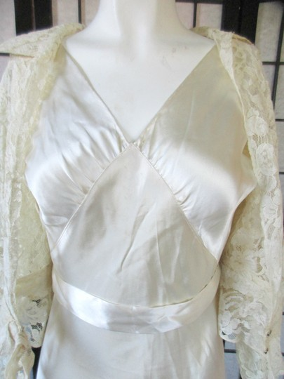 Ivory Silk Charmeuse 1930s Gown with Lace Bolero Jacket Deco Vintage Wedding Dress Size 6 (S) Image 5