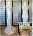 Ivory Silk Charmeuse 1930s Gown with Lace Bolero Jacket Deco Vintage Wedding Dress Size 6 (S) Image 7