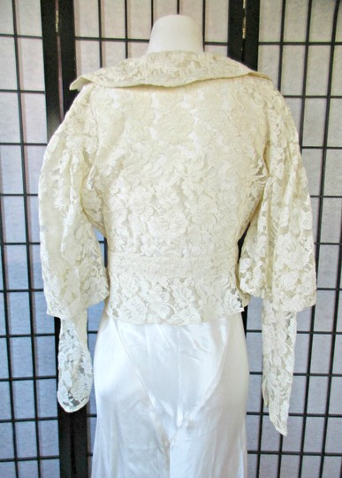 Ivory Silk Charmeuse 1930s Gown with Lace Bolero Jacket Deco Vintage Wedding Dress Size 6 (S) Image 8