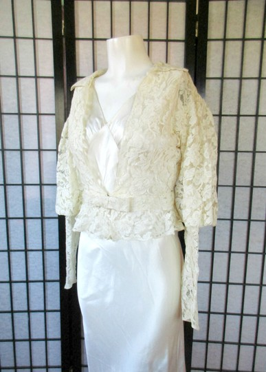 Ivory Silk Charmeuse 1930s Gown with Lace Bolero Jacket Deco Vintage Wedding Dress Size 6 (S) Image 9