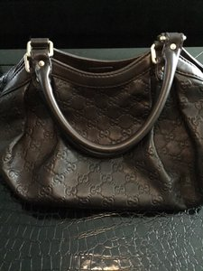 Gucci Leather Monogram Gold Hardware Hobo Bag