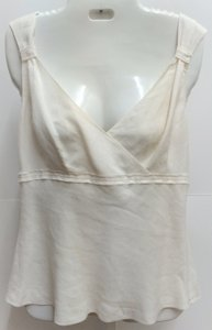 Ann Taylor Sleeveless Linen Ivory Shell Top White