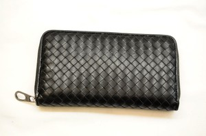 Bottega Veneta Black Nappa Intrecciato Zip Around Wallet