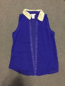 Dizzy Lizzie Pearls Sleeveless Blue Top Electric Blue