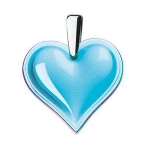 Lalique Crystal Heart Pendant Light Turquoise Blue