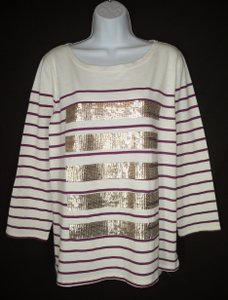 J.Crew Sequin Striped Cotton T Shirt