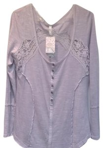 Free People Crochet Longsleeve Cotton Reverse Seams T Shirt Light Periwinkle