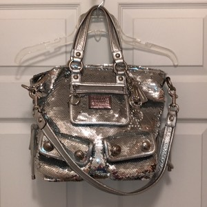 Coach Leather Sequin Rare Satchel in Metallic Silver