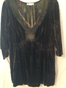One World Studded Beaded Bohemian Boho Top Green Print Velvet