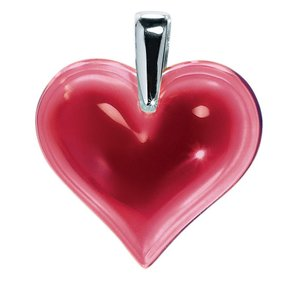 Lalique Red Crystal Heart Pendant