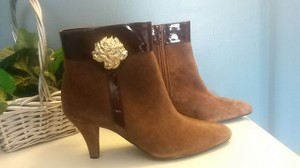 AJ. Valenci Suede Gold Rose Accent Leather Brown Boots