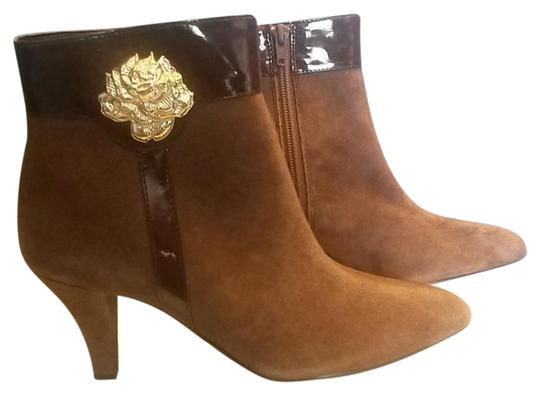 AJ. Valenci Suede Gold Rose Accent Leather Brown Boots Image 0