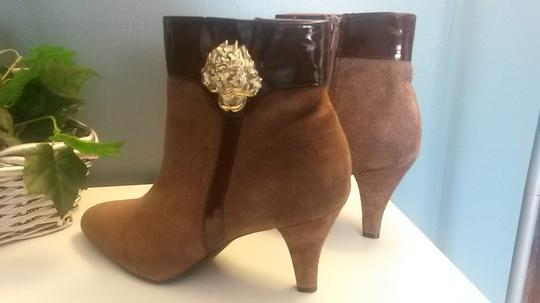 AJ. Valenci Suede Gold Rose Accent Leather Brown Boots Image 4