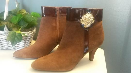 AJ. Valenci Suede Gold Rose Accent Leather Brown Boots Image 5