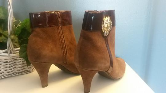 AJ. Valenci Suede Gold Rose Accent Leather Brown Boots Image 6