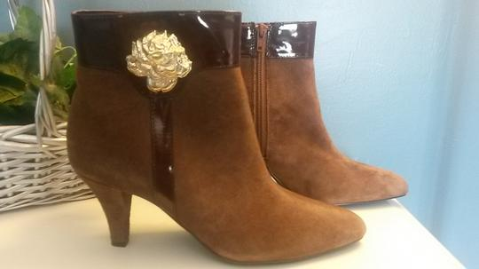 AJ. Valenci Suede Gold Rose Accent Leather Brown Boots Image 7