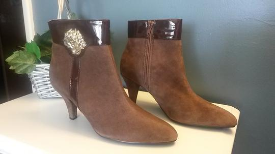 AJ. Valenci Suede Gold Rose Accent Leather Brown Boots Image 9