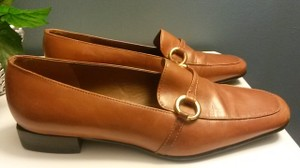 Enzo Angiolini Leather Gold Accent Brown Flats