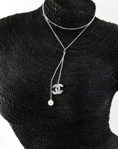 Chanel Chanel CC Crystal Pendant and Pearl Like Drop Necklace.