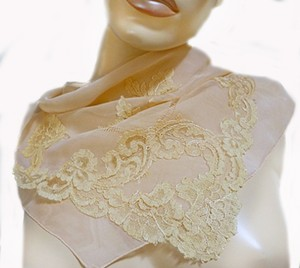 Other VTG SILKY PEACHY CORAL SHEER SILK -DRAWN NEEDLE AND LACE APPLIQUE 1940