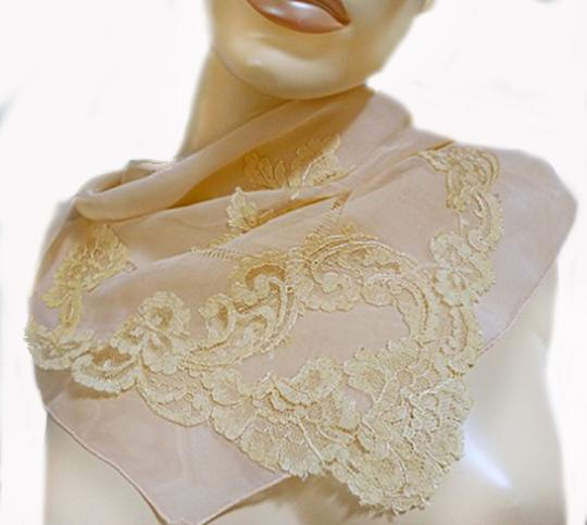 Preload https://img-static.tradesy.com/item/20511799/peach-vtg-silky-coral-sheer-silk-drawn-needle-and-lace-applique-1940-scarfwrap-0-0-540-540.jpg