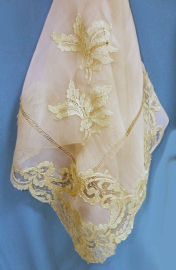 Other VTG SILKY PEACHY CORAL SHEER SILK -DRAWN NEEDLE AND LACE APPLIQUE 1940 Image 6