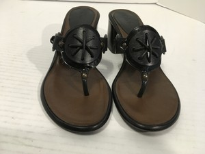Cole Haan All Stack Wood Heels Strips Slip On Black patent and regular leather thong Sandals