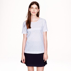 J.Crew Seersucket Boxy Top Blue