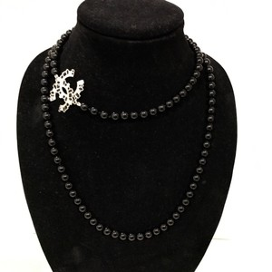 Chanel Chanel Crystal CC Black Bead Long Necklace