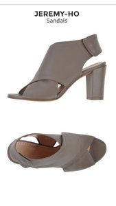Jeremy Ho Block Heel Gray Leather Sandals