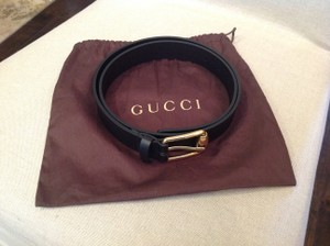 Gucci GUCCI LEATHER BLACK BELT WITH BRONZE METAL BUCKLE