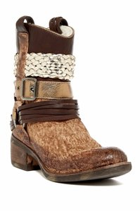 Bed|St Ovada Shearling Lined Harness 36 Brown, Metallic Boots