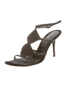 Sergio Rossi Suede Open Toe 8.5 Black Sandals