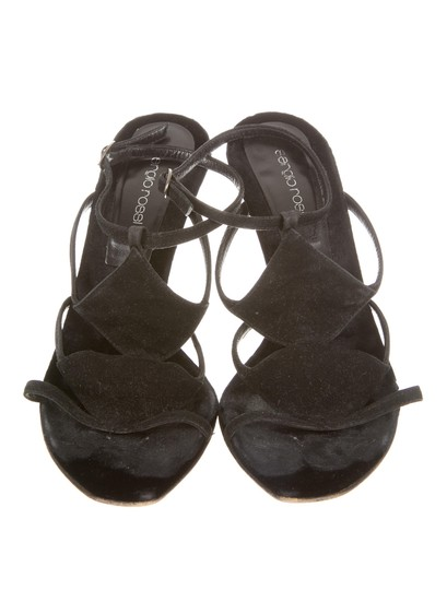 Sergio Rossi Suede Open Toe 8.5 Black Sandals Image 2