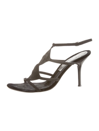 Sergio Rossi Suede Open Toe 8.5 Black Sandals Image 4